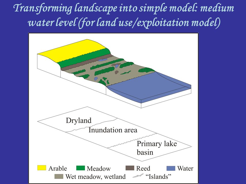 Transforming landscape into simple model: medium water level (for land use/exploitation model)