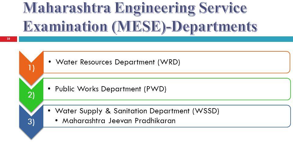 10 1) Water Resources Department (WRD) 2) Public Works Department (PWD) 3) Water Supply & Sanitation Department (WSSD) Maharashtra Jeevan Pradhikaran