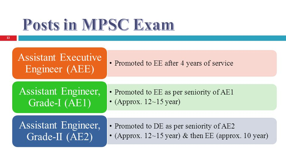 12 Promoted to EE after 4 years of service Assistant Executive Engineer (AEE) Promoted to EE as per seniority of AE1 (Approx. 12~15 year) Assistant En