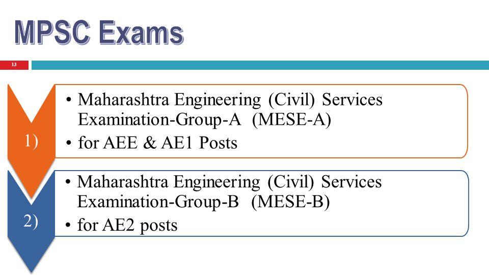 13 1) Maharashtra Engineering (Civil) Services Examination-Group-A (MESE-A) for AEE & AE1 Posts 2) Maharashtra Engineering (Civil) Services Examinatio