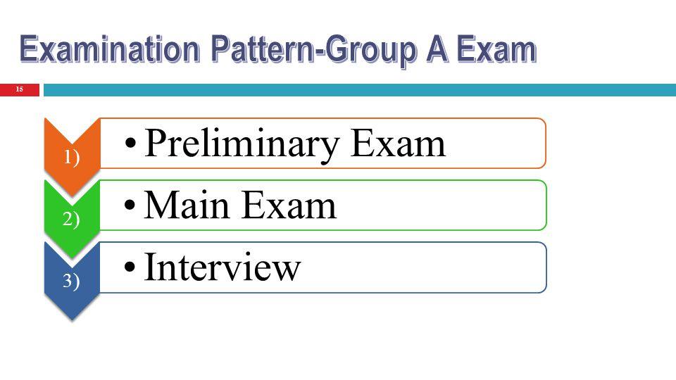 15 1) Preliminary Exam 2) Main Exam 3) Interview