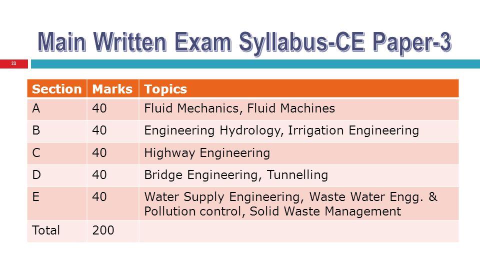 21 SectionMarksTopics A40Fluid Mechanics, Fluid Machines B40Engineering Hydrology, Irrigation Engineering C40Highway Engineering D40Bridge Engineering