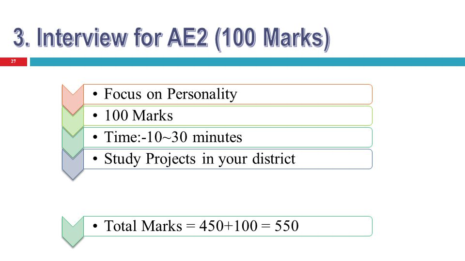 27 Focus on Personality 100 Marks Time:-10~30 minutes Study Projects in your district Total Marks = 450+100 = 550