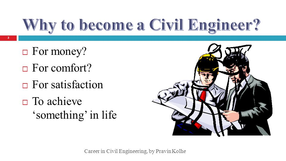 For money? For comfort? For satisfaction To achieve something in life 3 Career in Civil Engineering, by Pravin Kolhe
