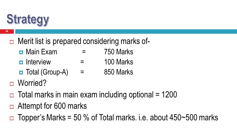 30 Merit list is prepared considering marks of- Main Exam =750 Marks Interview =100 Marks Total (Group-A) =850 Marks Worried? Total marks in main exam
