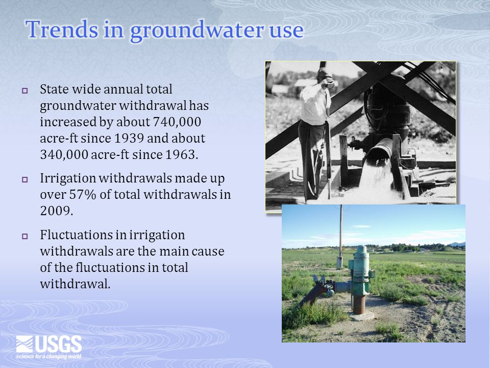State wide annual total groundwater withdrawal has increased by about 740,000 acre-ft since 1939 and about 340,000 acre-ft since 1963.