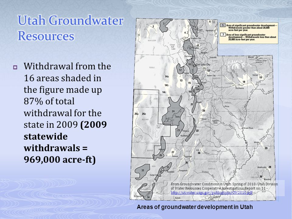Withdrawal from the 16 areas shaded in the figure made up 87% of total withdrawal for the state in 2009 (2009 statewide withdrawals = 969,000 acre-ft) Areas of groundwater development in Utah From Groundwater Conditions in Utah, Spring of 2010: Utah Division of Water Resources Cooperative Investigations Report no.