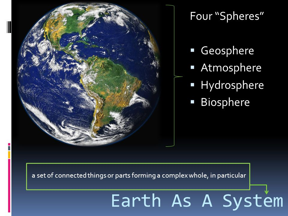 Four Spheres Geosphere 12,756 km (diameter) Atmosphere 1,000 km Hydrosphere All water, incl atmospheric water Biosphere 9 km above surface 11 km beneath surface Sphere Sizes