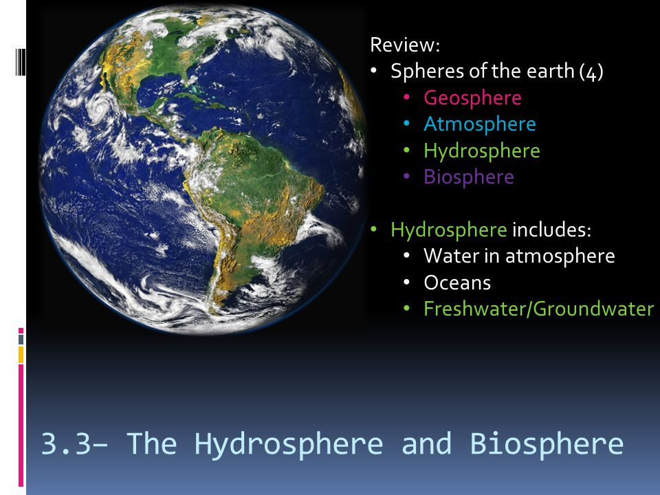 3.3– The Hydrosphere and Biosphere Review: Spheres of the earth (4) Geosphere Atmosphere Hydrosphere Biosphere Hydrosphere includes: Water in atmosphe