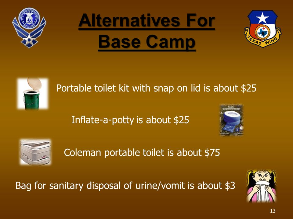 Alternatives For Base Camp Portable toilet kit with snap on lid is about $25 Inflate-a-potty is about $25 Coleman portable toilet is about $75 Bag for sanitary disposal of urine/vomit is about $3 13