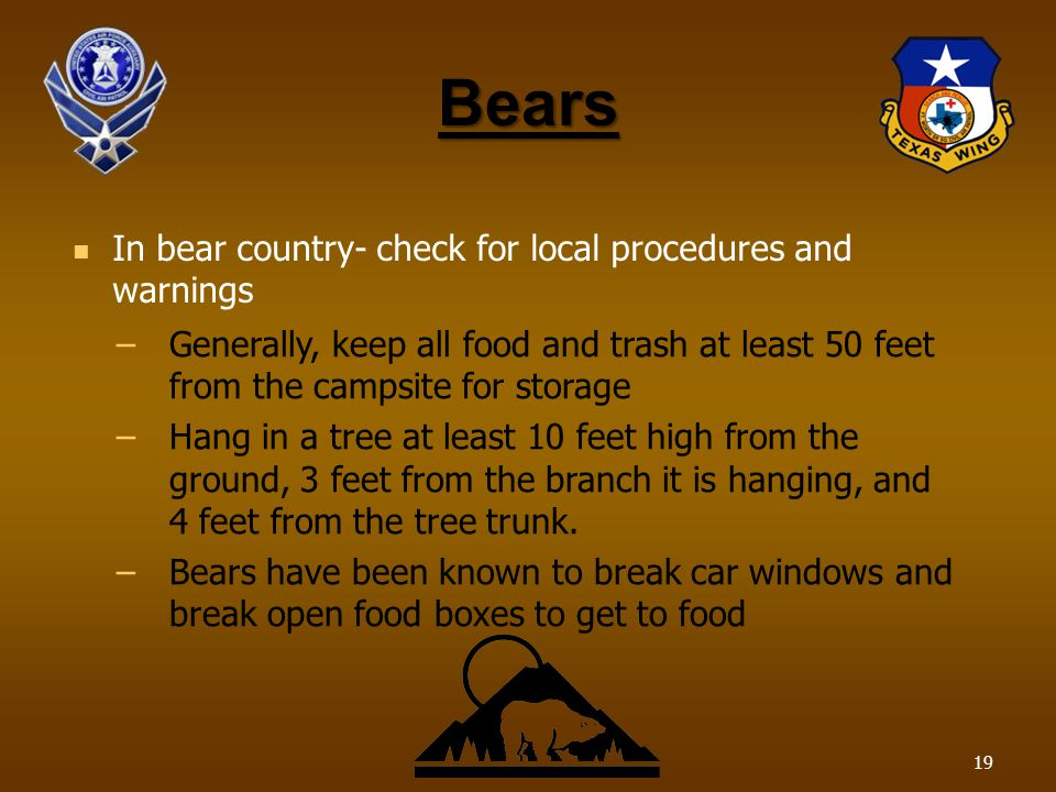 Bears In bear country- check for local procedures and warnings –Generally, keep all food and trash at least 50 feet from the campsite for storage –Hang in a tree at least 10 feet high from the ground, 3 feet from the branch it is hanging, and 4 feet from the tree trunk.