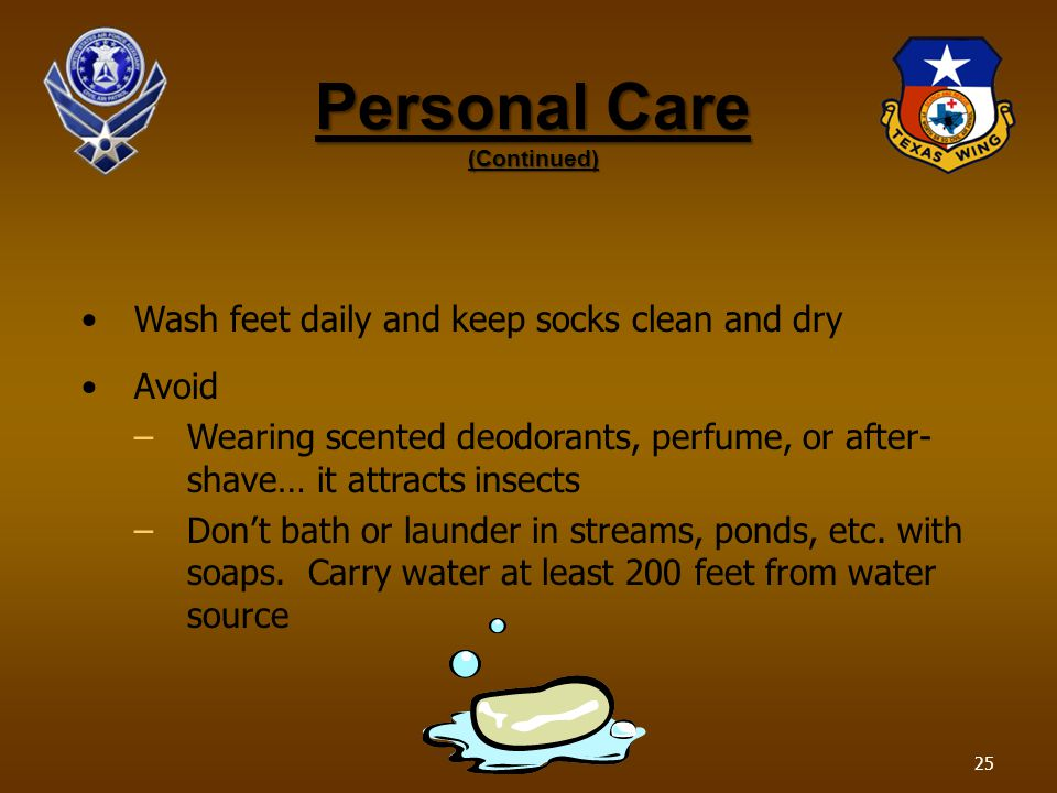 Personal Care (Continued) Wash feet daily and keep socks clean and dry Avoid –Wearing scented deodorants, perfume, or after- shave… it attracts insects –Dont bath or launder in streams, ponds, etc.