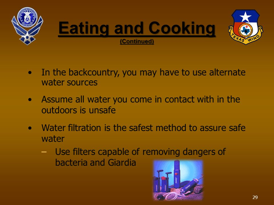 Eating and Cooking (Continued) In the backcountry, you may have to use alternate water sources Assume all water you come in contact with in the outdoors is unsafe Water filtration is the safest method to assure safe water –Use filters capable of removing dangers of bacteria and Giardia 29
