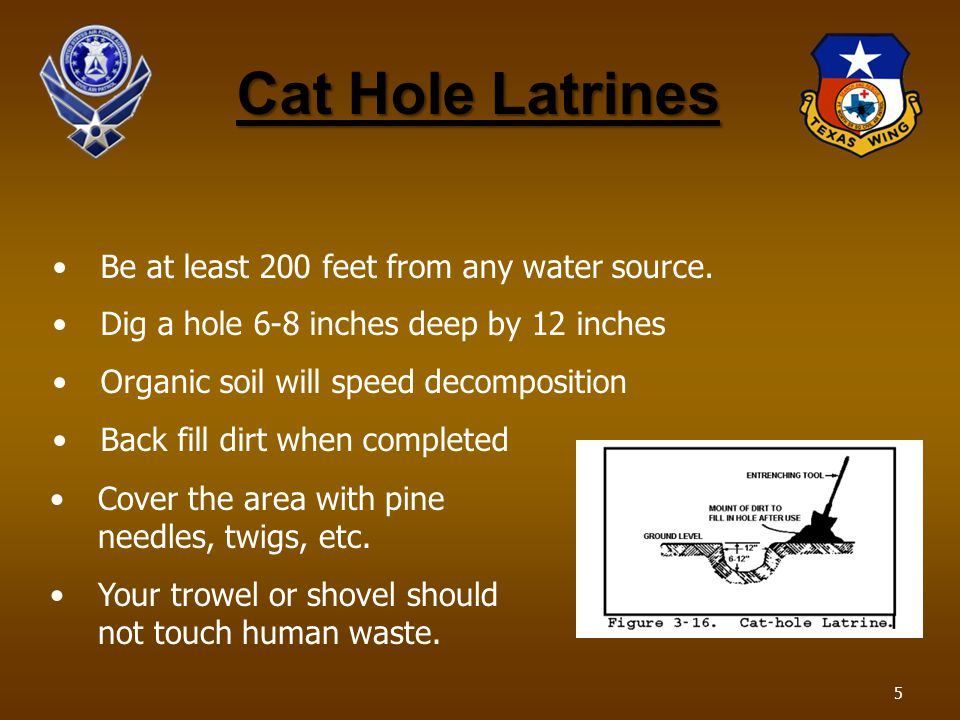 Cat Hole Latrines Cover the area with pine needles, twigs, etc. Your trowel or shovel should not touch human waste. Be at least 200 feet from any wate