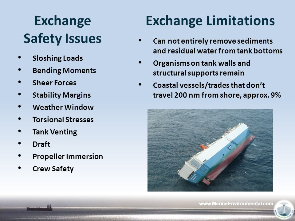 www.MarineEnvironmental.com Exchange Safety Issues Sloshing Loads Bending Moments Sheer Forces Stability Margins Weather Window Torsional Stresses Tan