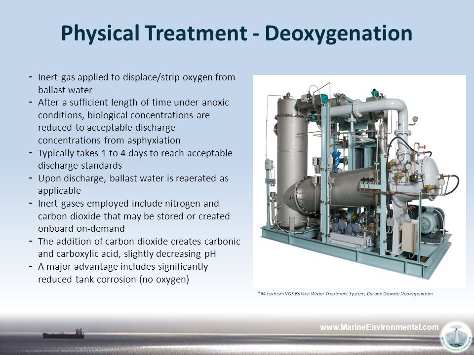 www.MarineEnvironmental.com Physical Treatment - Deoxygenation - Inert gas applied to displace/strip oxygen from ballast water - After a sufficient le