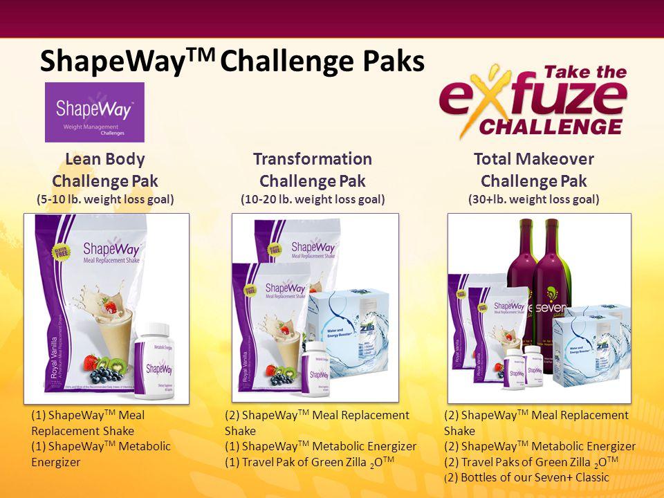 Lean Body Challenge Pak (5-10 lb. weight loss goal) ShapeWay TM Challenge Paks Transformation Challenge Pak (10-20 lb. weight loss goal) Total Makeove