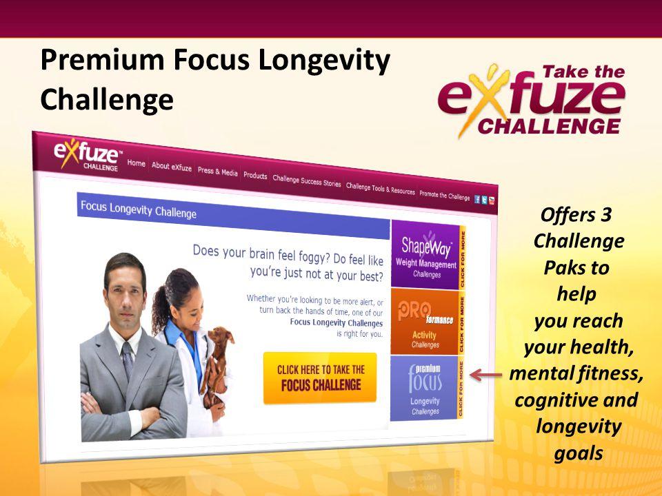 Premium Focus Longevity Challenge Offers 3 Challenge Paks to help you reach your health, mental fitness, cognitive and longevity goals