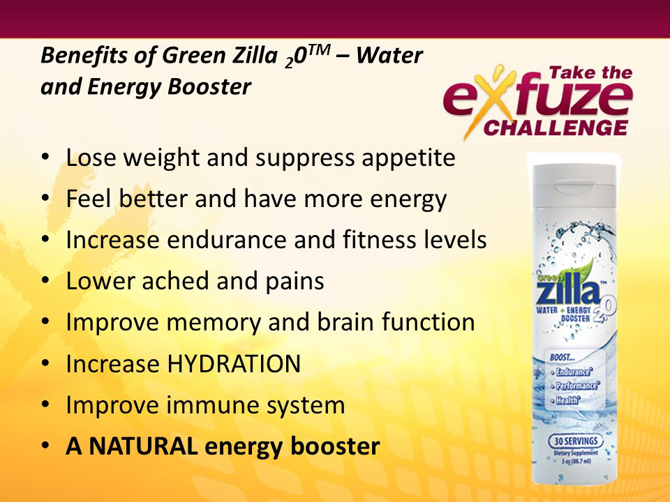 Green Zilla 2 0 TM Product to Product Synergy When combined with eXfuze ShapeWay TM Meal Replacement, it may enhance the metabolism, increase energy, and suppress hunger …especially valuable when restricting calories.* When combined with eXfuze PROformance it may increase energy and endurance, as well as the help muscles to recover …especially valuable during long periods of strenuous activity.