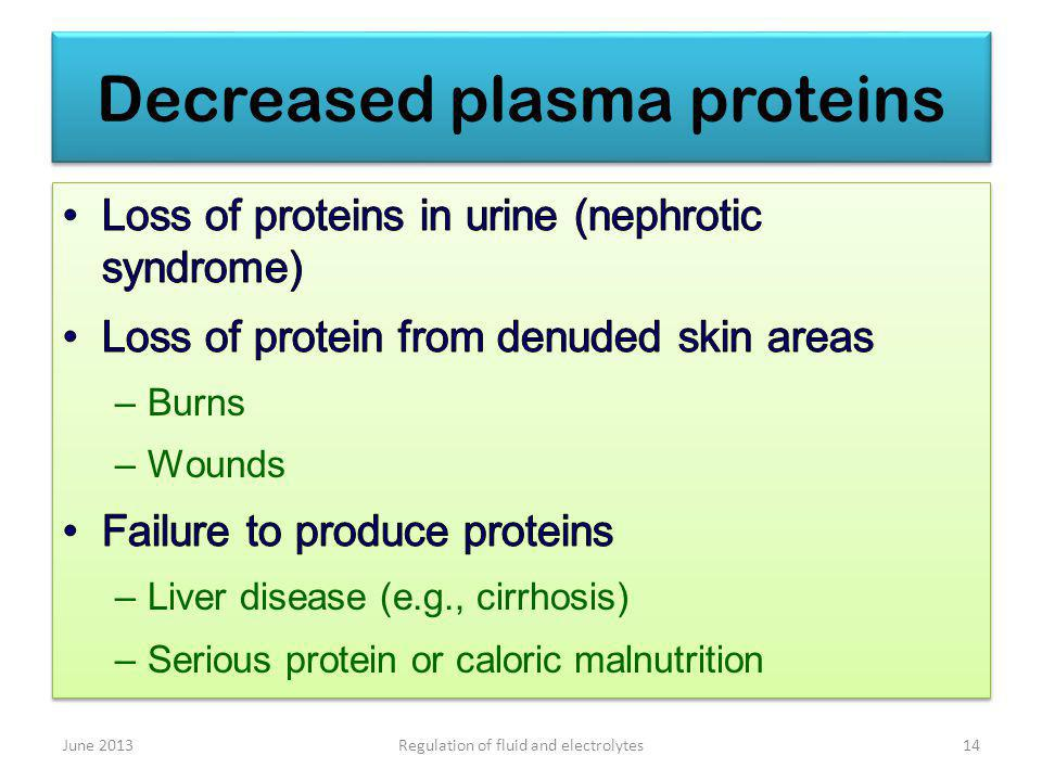 Decreased plasma proteins June 201314Regulation of fluid and electrolytes