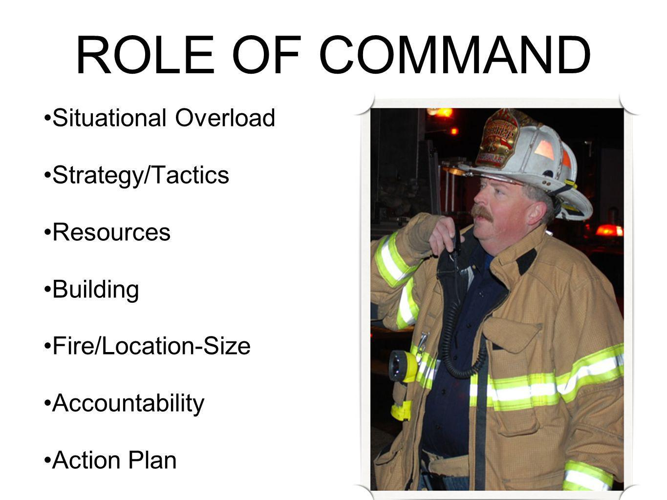 ROLE OF COMMAND Situational Overload Strategy/Tactics Resources Building Fire/Location-Size Accountability Action Plan