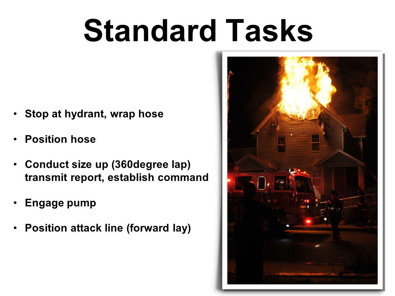 Standard Tasks Stop at hydrant, wrap hose Position hose Conduct size up (360degree lap) transmit report, establish command Engage pump Position attack