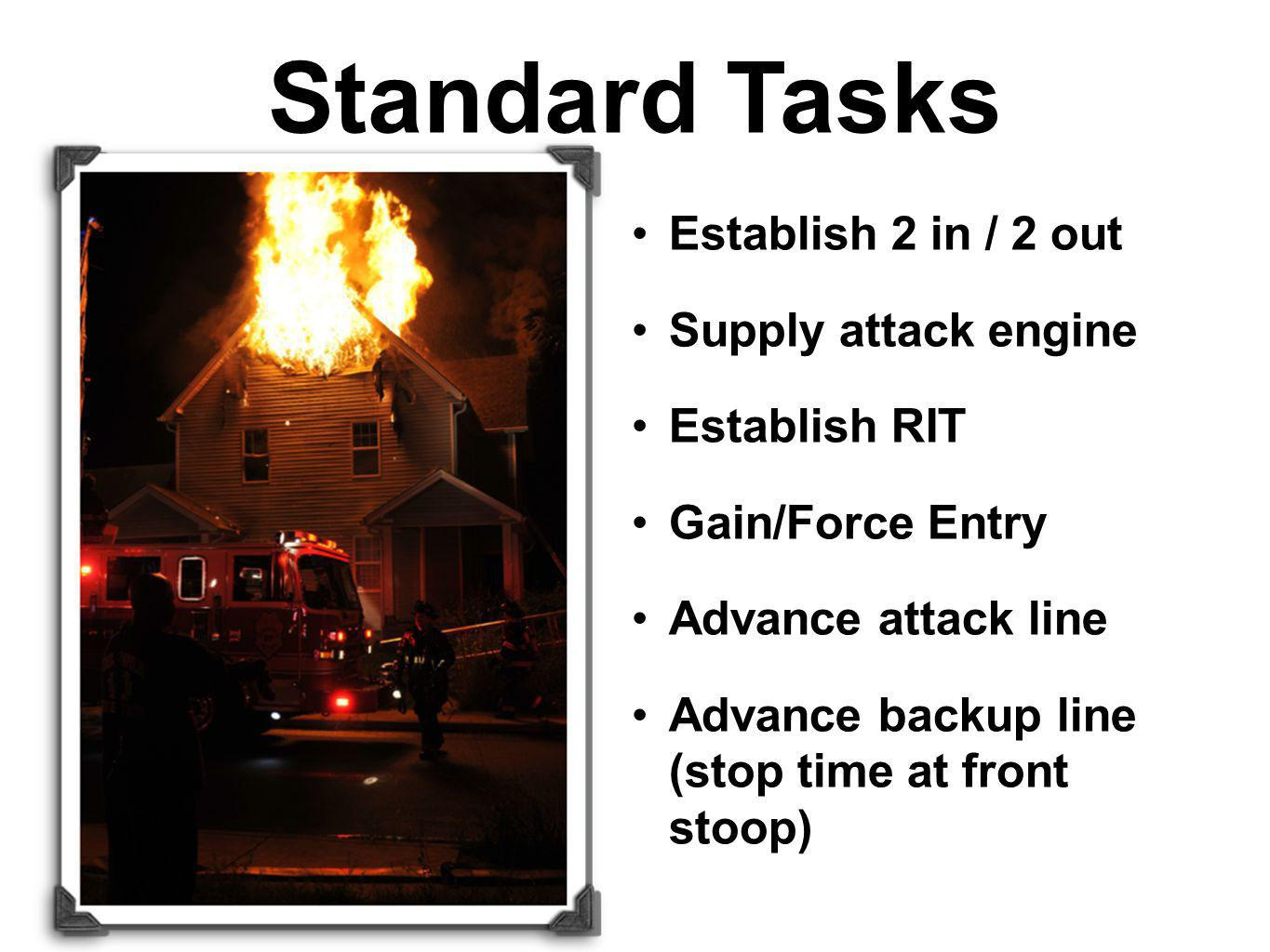 Establish 2 in / 2 out Supply attack engine Establish RIT Gain/Force Entry Advance attack line Advance backup line (stop time at front stoop) Standard