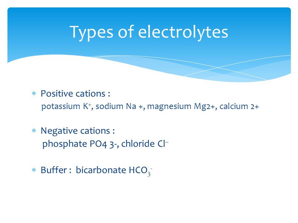 Intracellular fluid (ICF) :- prevalent cation – K +, Mg ++ prevalent anion - PO 4 - - - Extracellular fluid ( ECF) :- prevalent cation – Na + prevalent anion - Cl - Distribution