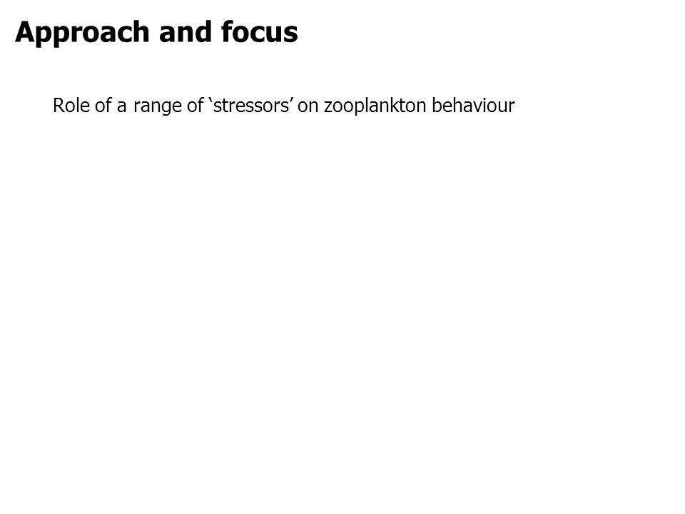 Approach and focus Role of a range of stressors on zooplankton behaviour