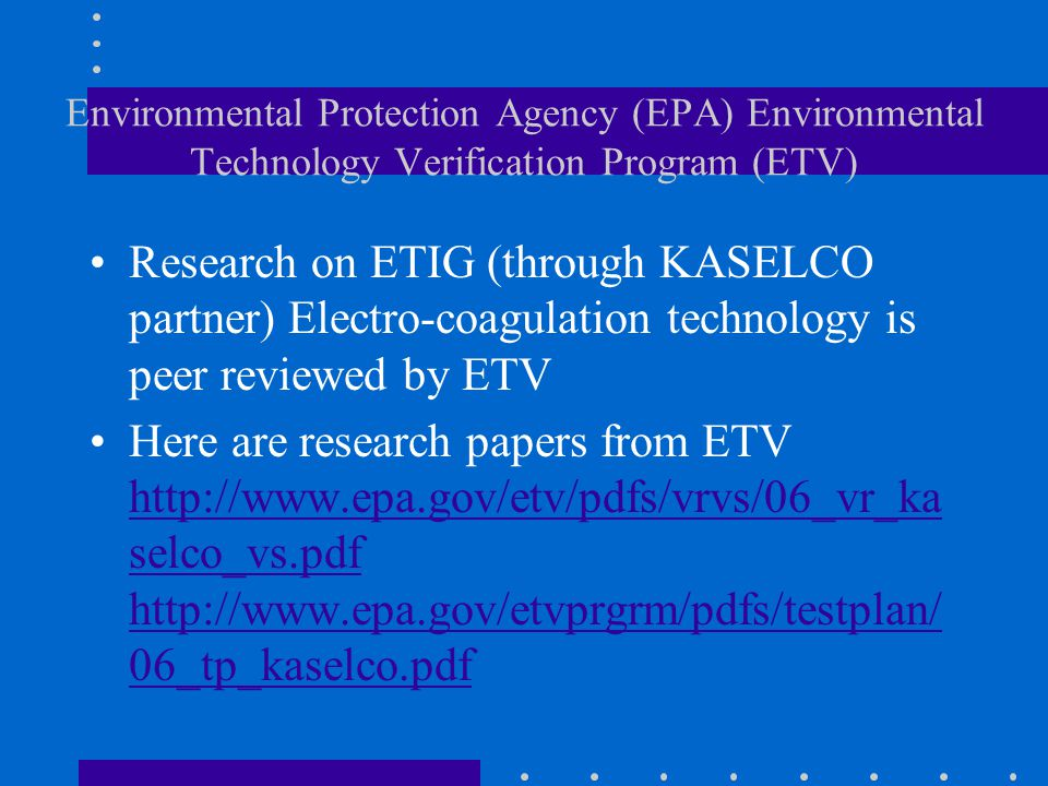 Introduction to EnviroTech International ELECTROCOAGULATION