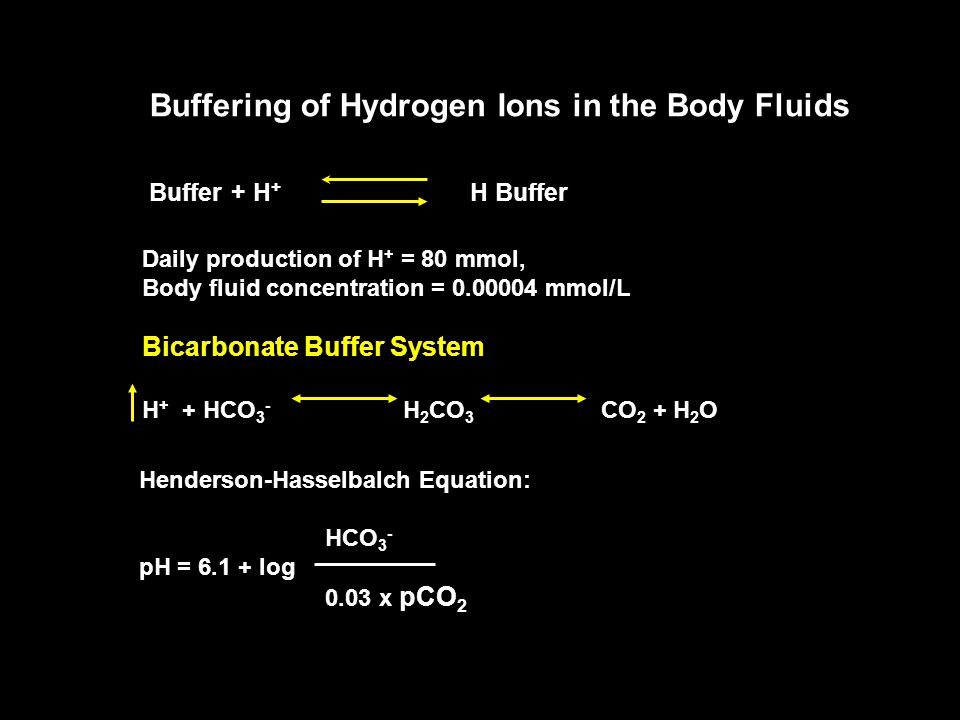 Buffering of Hydrogen Ions in the Body Fluids Buffer + H + H Buffer Daily production of H + = 80 mmol, Body fluid concentration = 0.00004 mmol/L Bicarbonate Buffer System H + + HCO 3 - H 2 CO 3 CO 2 + H 2 O Henderson-Hasselbalch Equation: HCO 3 - pH = 6.1 + log 0.03 x pCO 2