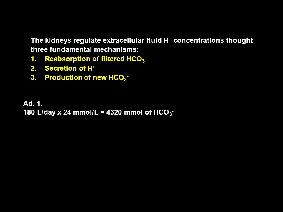 The kidneys regulate extracellular fluid H + concentrations thought three fundamental mechanisms: 1.Reabsorption of filtered HCO 3 - 2.Secretion of H