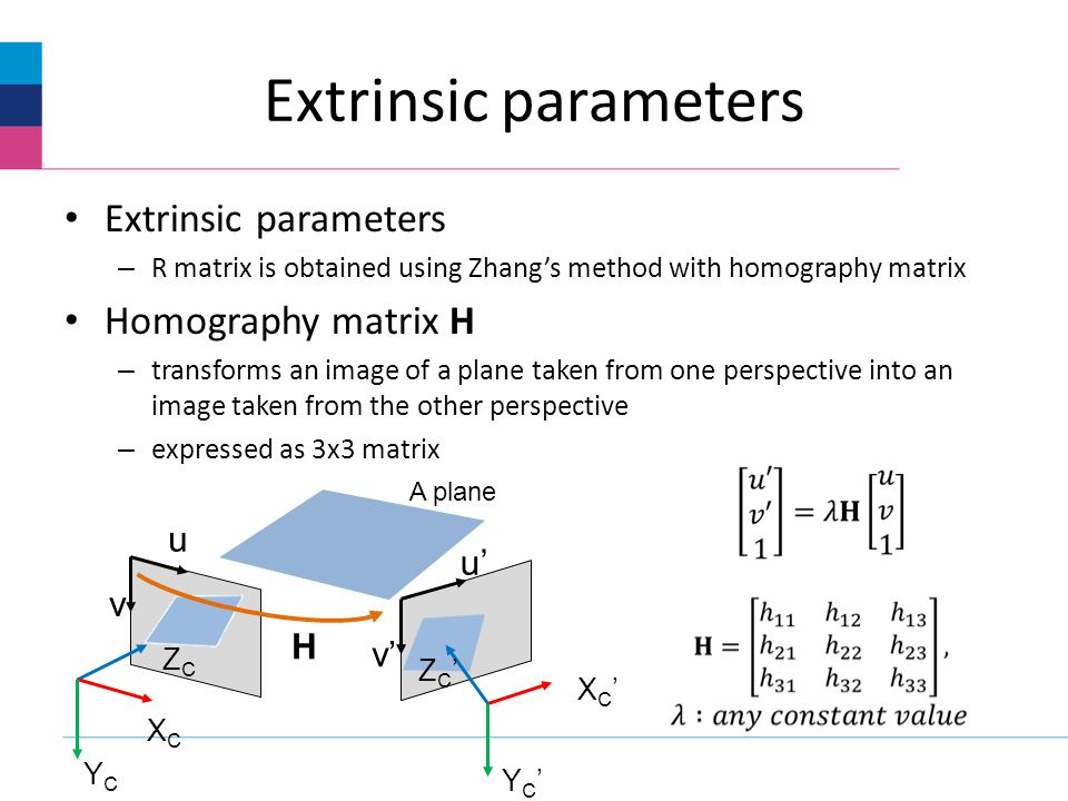 Extrinsic parameters – R matrix is obtained using Zhangs method with homography matrix Homography matrix H – transforms an image of a plane taken from one perspective into an image taken from the other perspective – expressed as 3x3 matrix XCXC YCYC ZCZC X C Y C Z C v H u v A plane u