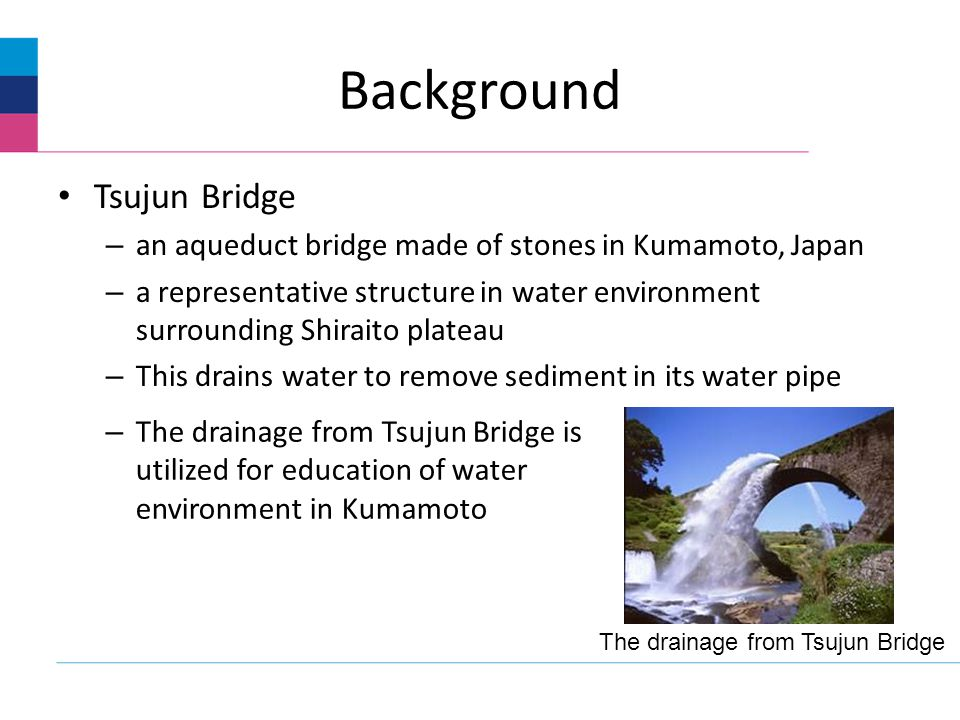 Background Tsujun Bridge – an aqueduct bridge made of stones in Kumamoto, Japan – a representative structure in water environment surrounding Shiraito plateau – This drains water to remove sediment in its water pipe The drainage from Tsujun Bridge – The drainage from Tsujun Bridge is utilized for education of water environment in Kumamoto