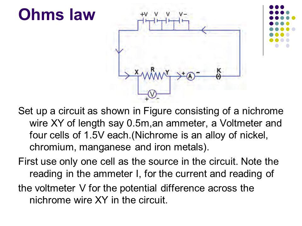 Ohms law Set up a circuit as shown in Figure consisting of a nichrome wire XY of length say 0.5m,an ammeter, a Voltmeter and four cells of 1.5V each.(Nichrome is an alloy of nickel, chromium, manganese and iron metals).
