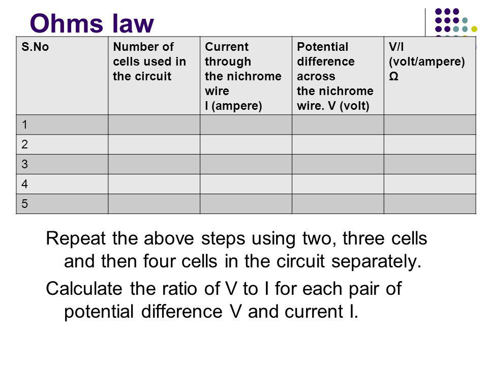 Ohms law Repeat the above steps using two, three cells and then four cells in the circuit separately.