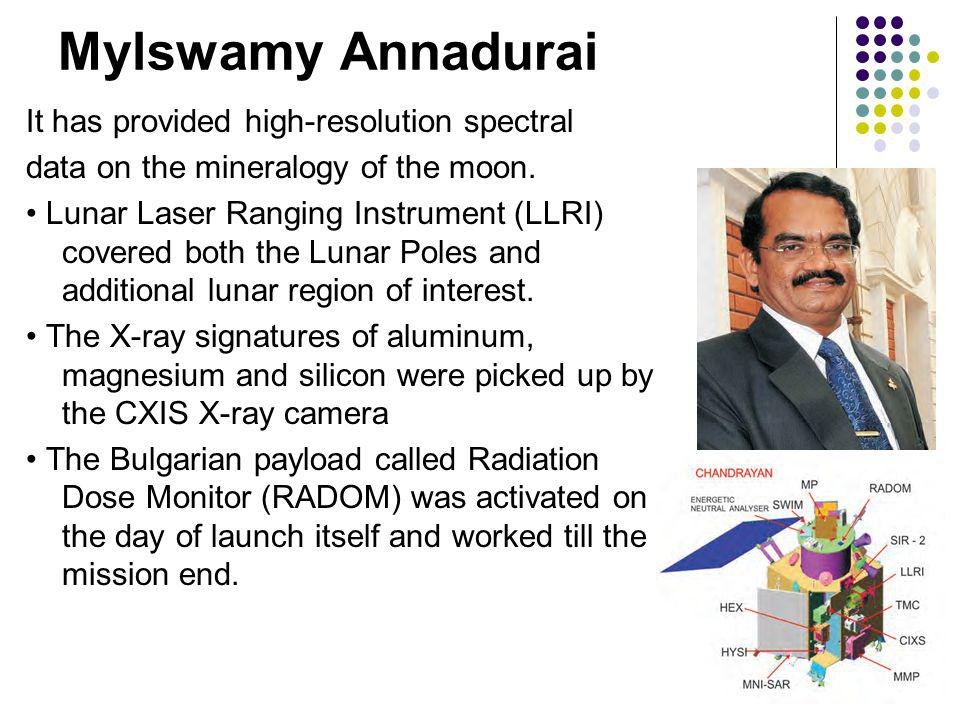 Mylswamy Annadurai It has provided high-resolution spectral data on the mineralogy of the moon.