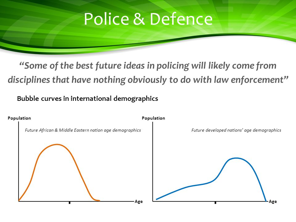 Police & Defence Some of the best future ideas in policing will likely come from disciplines that have nothing obviously to do with law enforcement Bubble curves in international demographics Age Population Future African & Middle Eastern nation age demographics Age Population Future developed nations age demographics