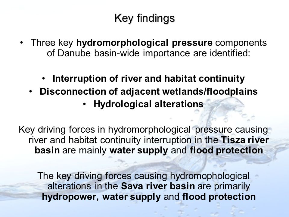 Three key hydromorphological pressure components of Danube basin-wide importance are identified: Interruption of river and habitat continuity Disconnection of adjacent wetlands/floodplains Hydrological alterations Key driving forces in hydromorphological pressure causing river and habitat continuity interruption in the Tisza river basin are mainly water supply and flood protection The key driving forces causing hydromophological alterations in the Sava river basin are primarily hydropower, water supply and flood protection Key findings