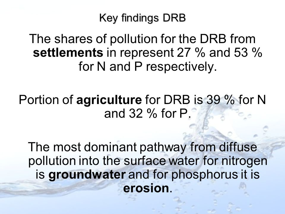 The shares of pollution for the DRB from settlements in represent 27 % and 53 % for N and P respectively.