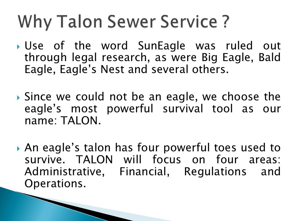 Use of the word SunEagle was ruled out through legal research, as were Big Eagle, Bald Eagle, Eagles Nest and several others.