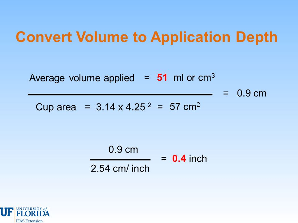 Convert Volume to Application Depth Average volume applied = = 0.9 cm Cup area =3.14 x 4.25 2 = 57 cm 2 51 ml or cm 3 = 0.4 inch 2.54 cm/ inch 0.9 cm
