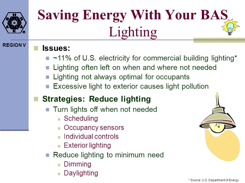REGION V Saving Energy With Your BAS Lighting Issues: ~11% of U.S. electricity for commercial building lighting* Lighting often left on when and where