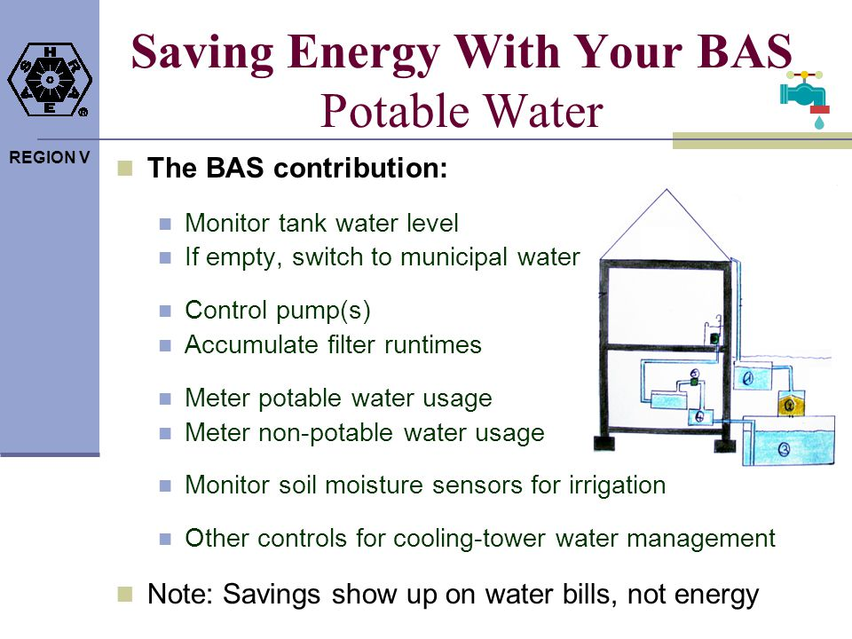 REGION V Saving Energy With Your BAS Potable Water The BAS contribution: Monitor tank water level If empty, switch to municipal water Control pump(s)