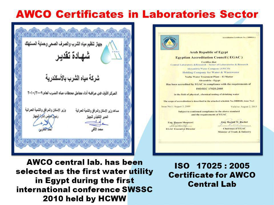 ISO 17025 : 2005 Certificate for AWCO Central Lab, AWCO central lab.