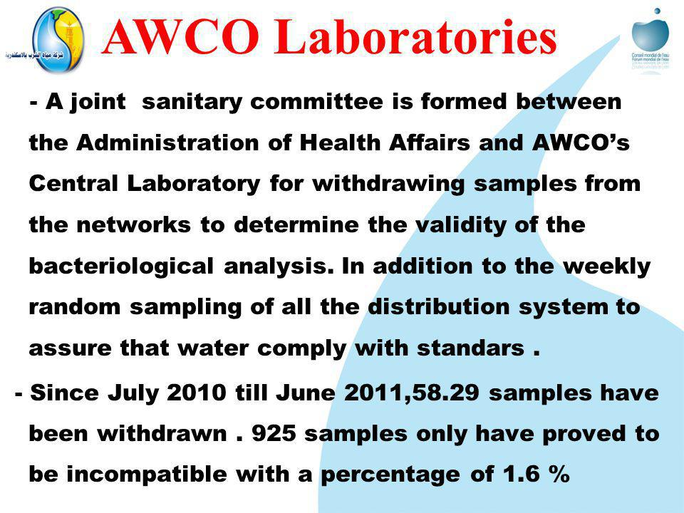- A joint sanitary committee is formed between the Administration of Health Affairs and AWCOs Central Laboratory for withdrawing samples from the networks to determine the validity of the bacteriological analysis.