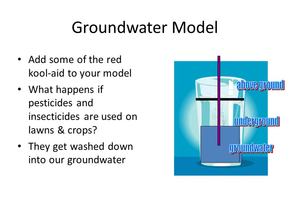 Groundwater Model Add some of the red kool-aid to your model What happens if pesticides and insecticides are used on lawns & crops? They get washed do