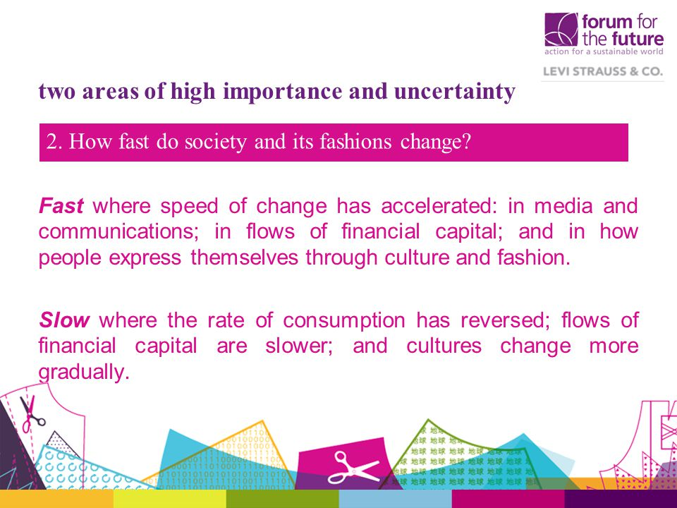 Fast where speed of change has accelerated: in media and communications; in flows of financial capital; and in how people express themselves through culture and fashion.
