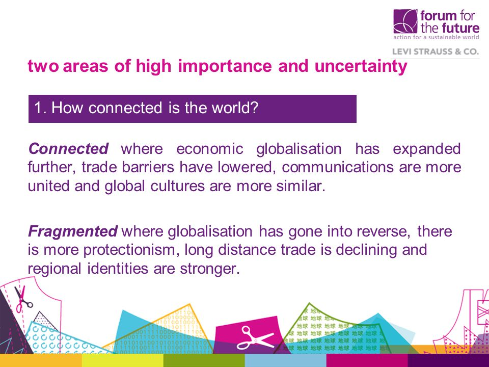 two areas of high importance and uncertainty Connected where economic globalisation has expanded further, trade barriers have lowered, communications are more united and global cultures are more similar.
