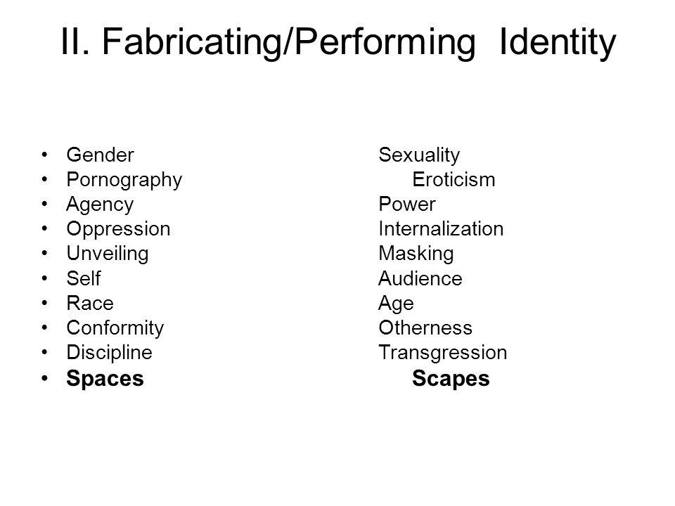 II. Fabricating/PerformingIdentity GenderSexuality PornographyEroticism AgencyPower OppressionInternalization UnveilingMasking SelfAudience Race Age C